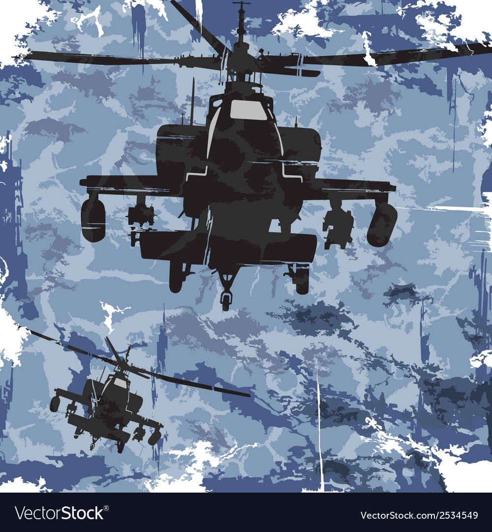 Army grunge background with helicopter vector | Price: 1 Credit (USD $1)