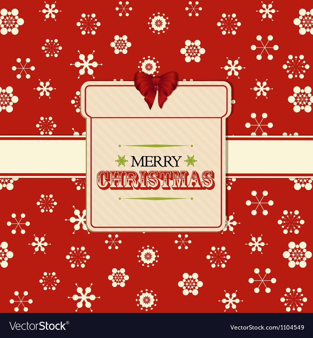 Christmas present label background red vector | Price: 1 Credit (USD $1)