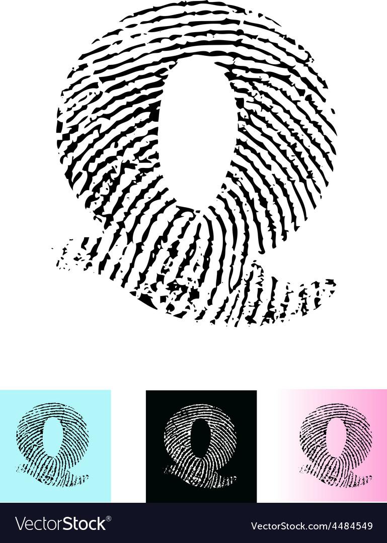 Fingerprint alphabet letter q vector