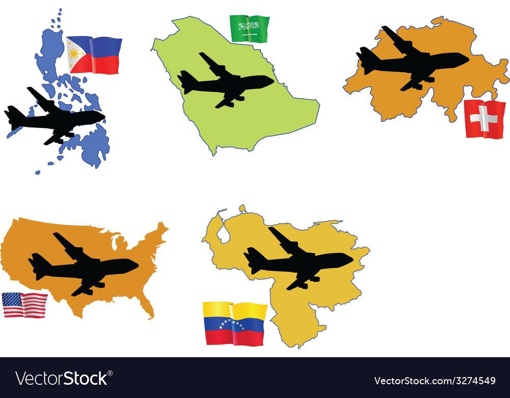 Fly me to the philippines saudi arabia switzerland vector | Price: 1 Credit (USD $1)