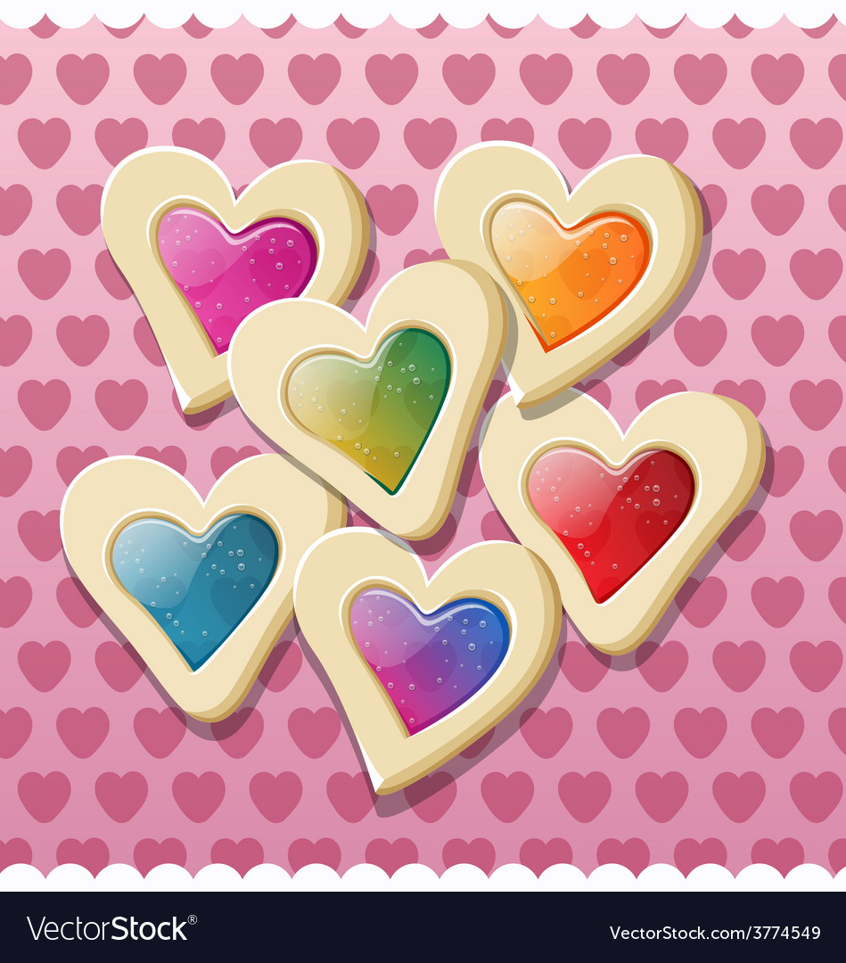 Heart shaped cookies for valentine day vector | Price: 1 Credit (USD $1)