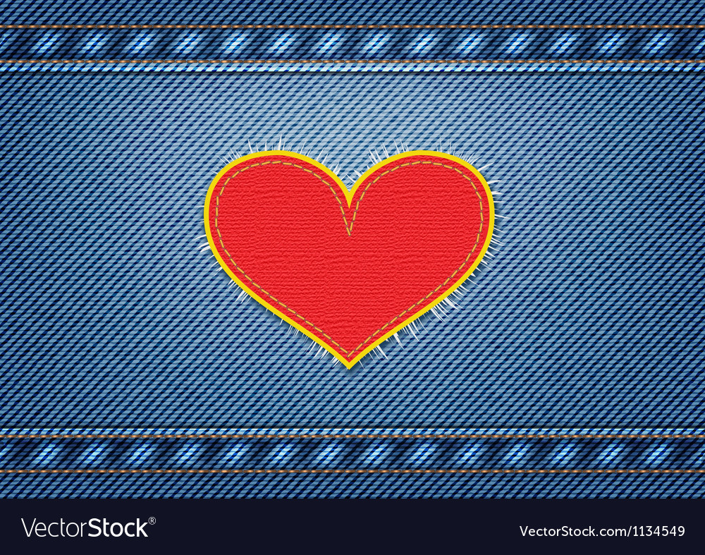 Jeans background with heart patch vector | Price: 1 Credit (USD $1)