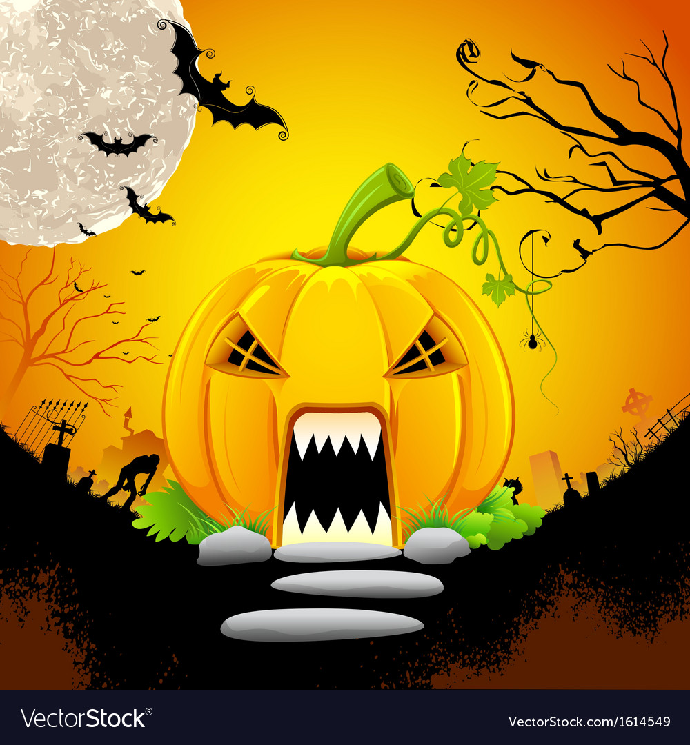 Pumpkin monster house vector | Price: 1 Credit (USD $1)