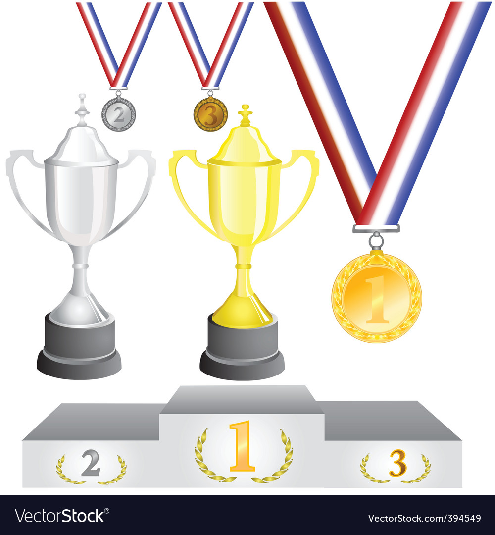 Reward medal and cup vector | Price: 1 Credit (USD $1)