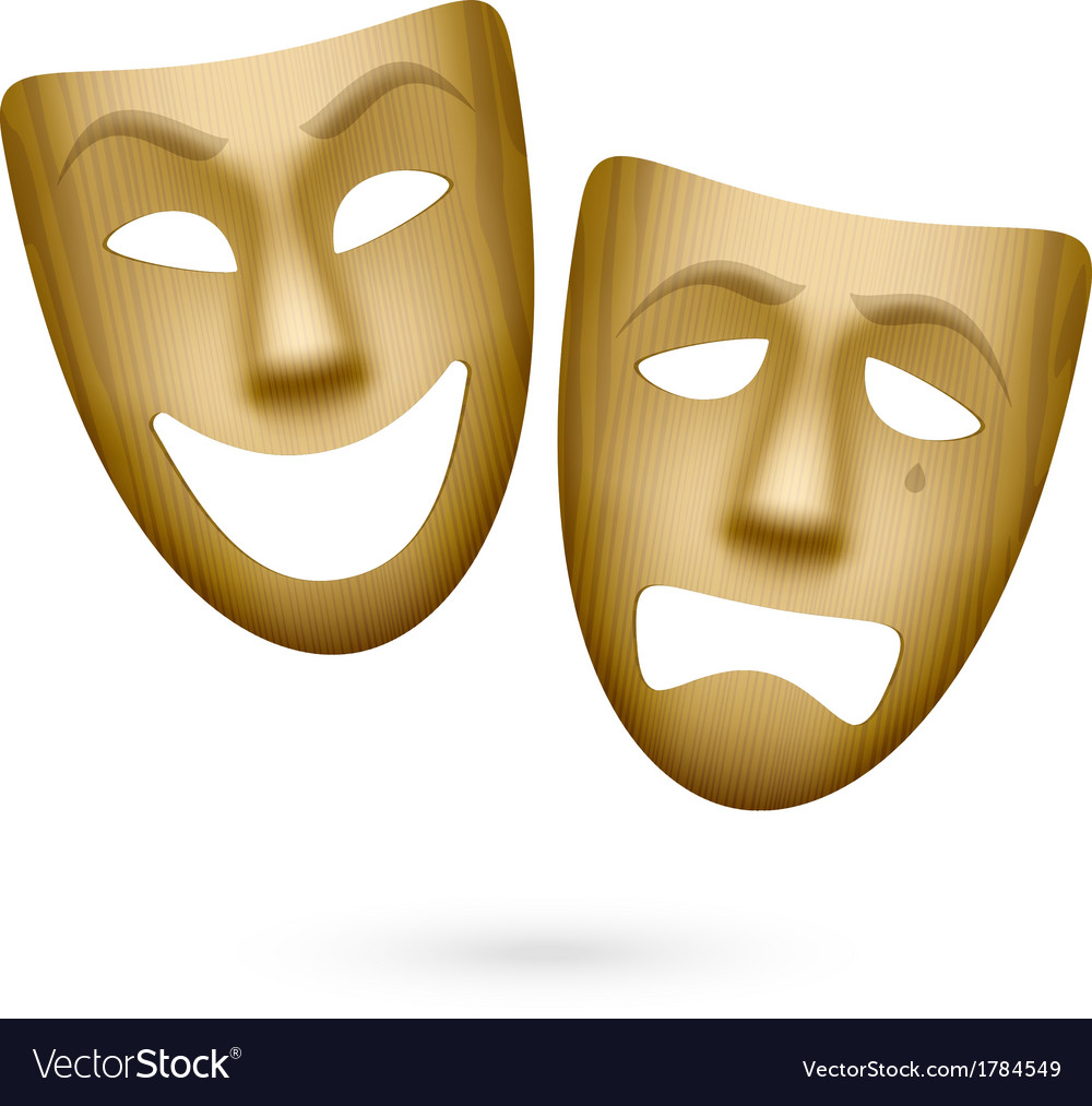 Wooden comedy and tragedy theatrical masks vector | Price: 1 Credit (USD $1)