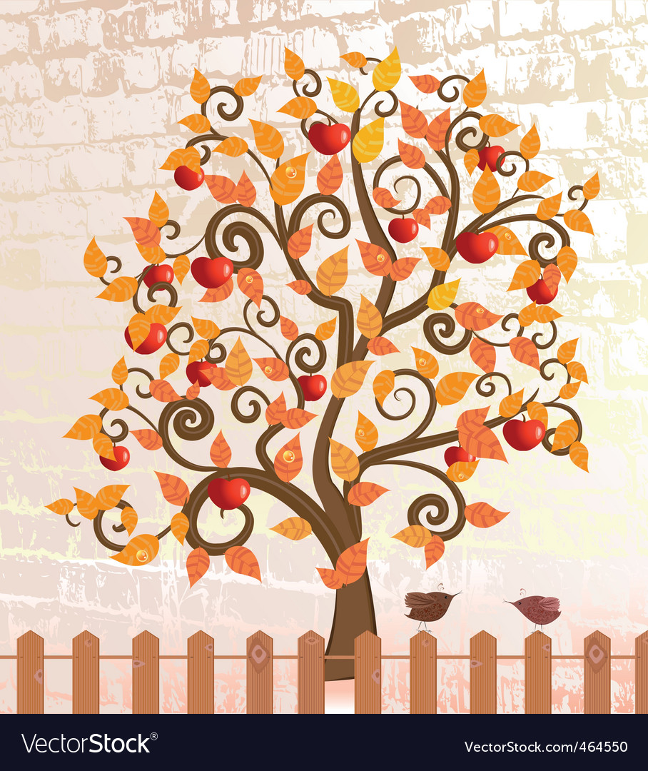 Apple trees after rain fall vector | Price: 1 Credit (USD $1)