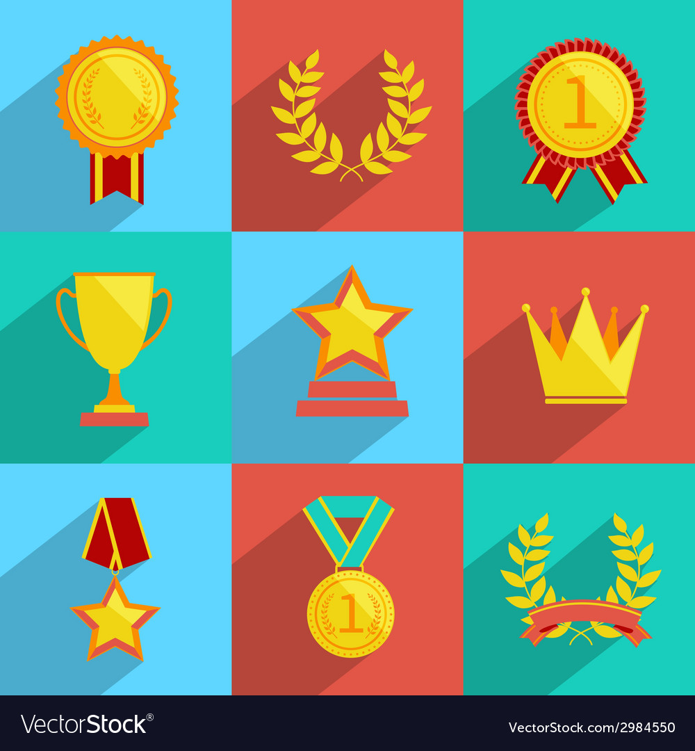 Award icons set colored vector | Price: 1 Credit (USD $1)