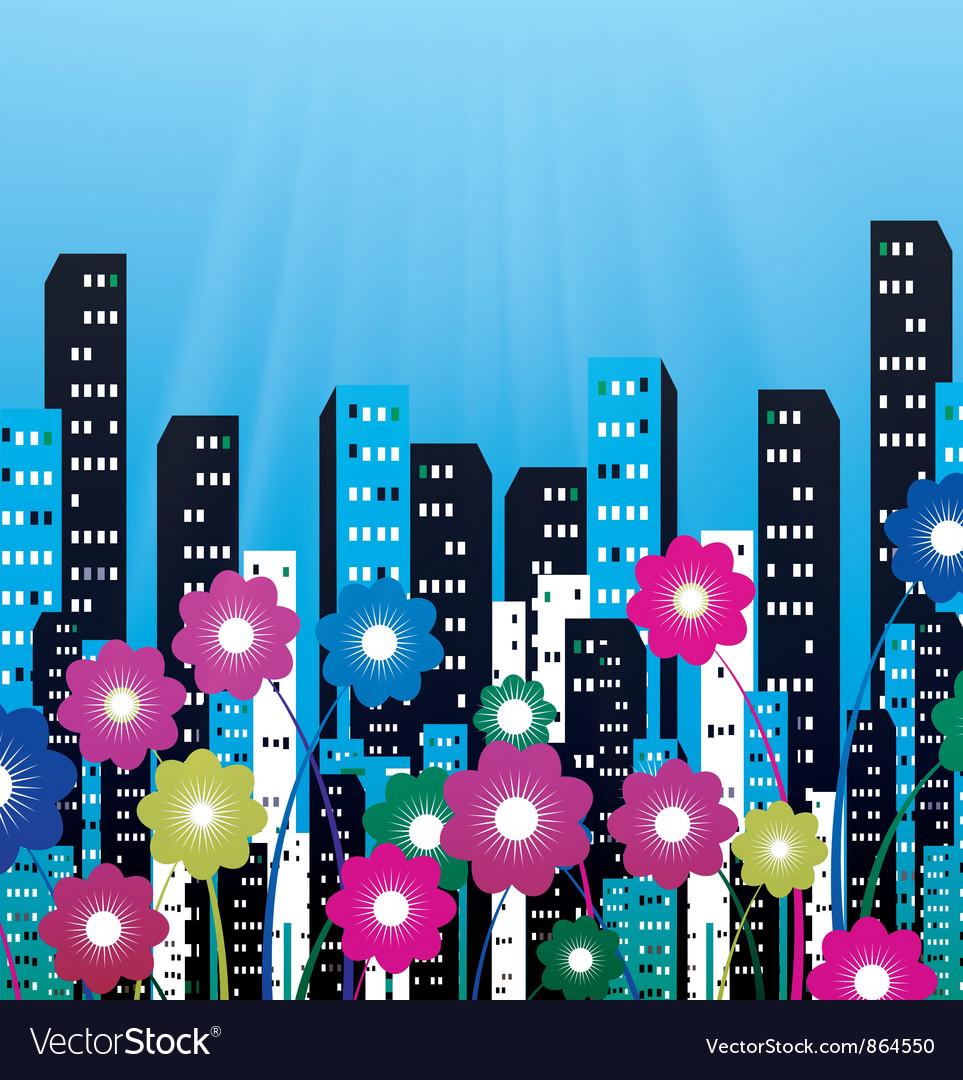 City with flowers vector | Price: 1 Credit (USD $1)