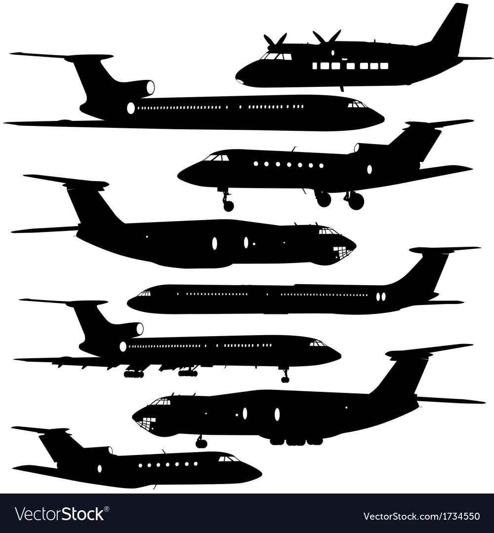 Collection of different aircraft silhouettes vector | Price: 1 Credit (USD $1)