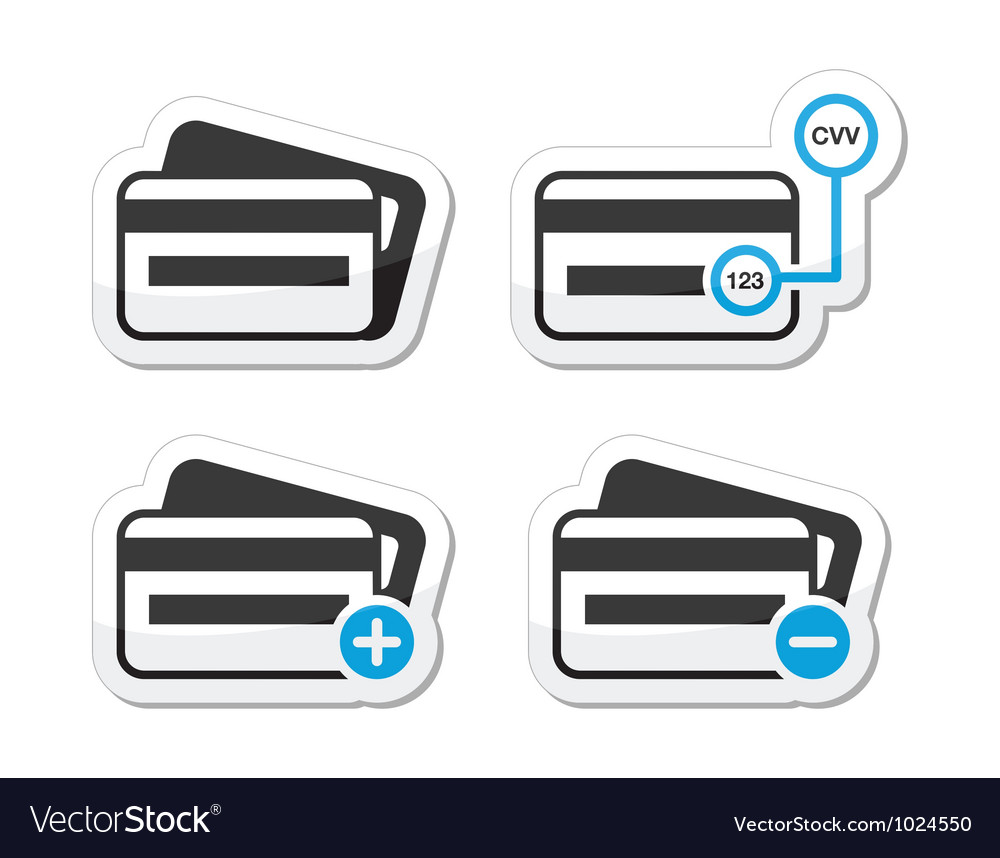 Credit card cvv code icons as labels set vector | Price: 1 Credit (USD $1)