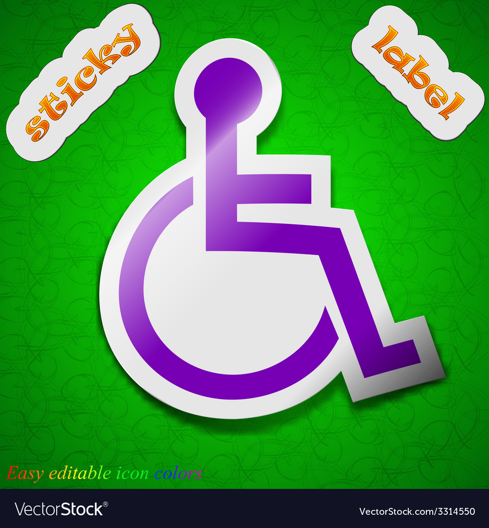 Disabled icon sign symbol chic colored sticky vector | Price: 1 Credit (USD $1)