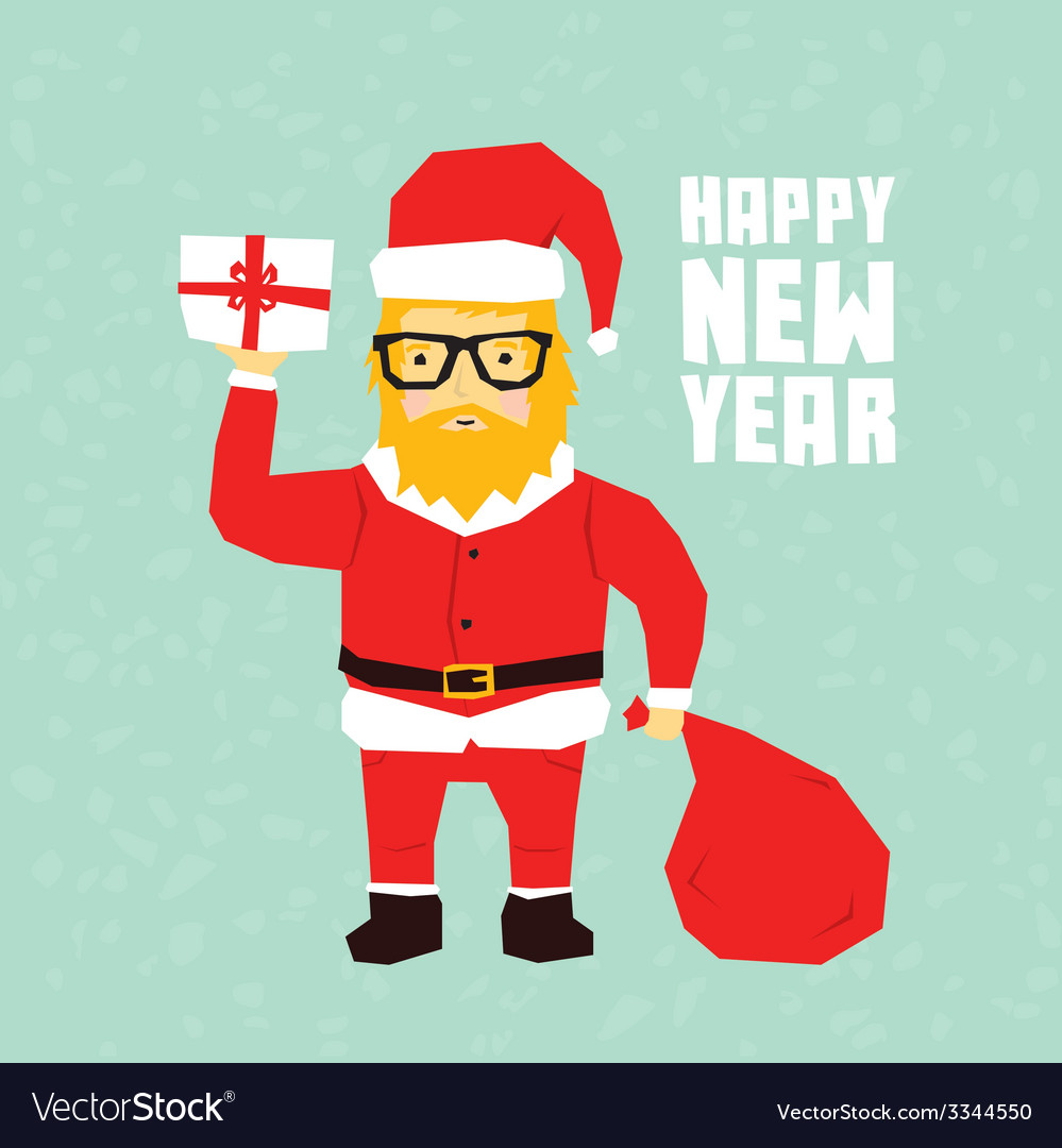 Happy new year hipster santa postcard vector | Price: 1 Credit (USD $1)