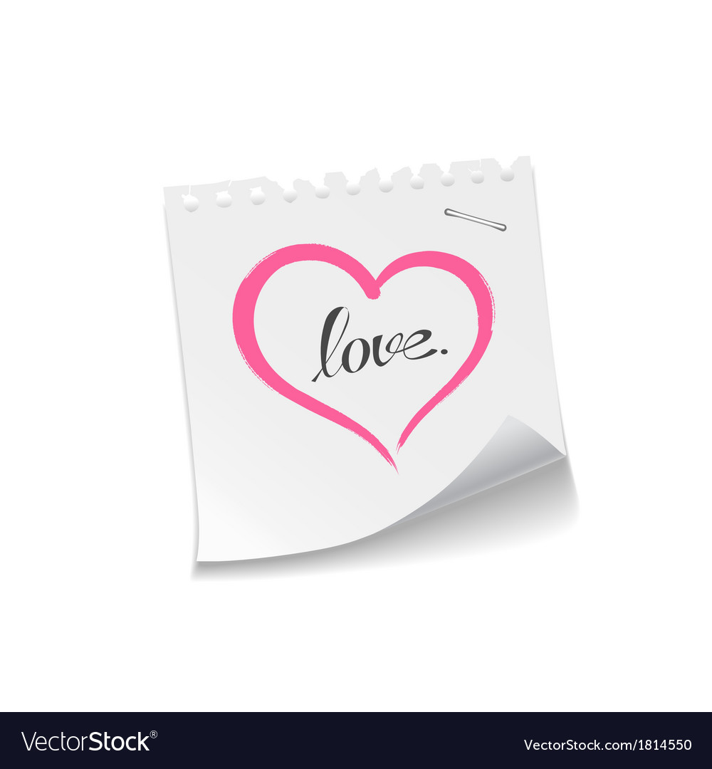 Pink heart paper note love message vector | Price: 1 Credit (USD $1)