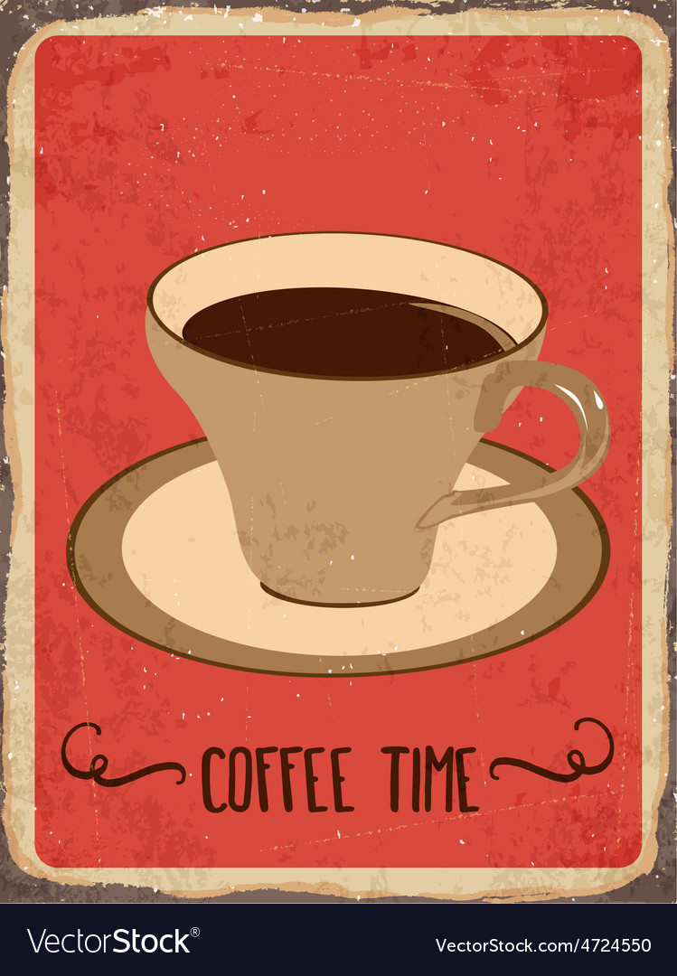 Retro metal sign coffee time vector | Price: 1 Credit (USD $1)