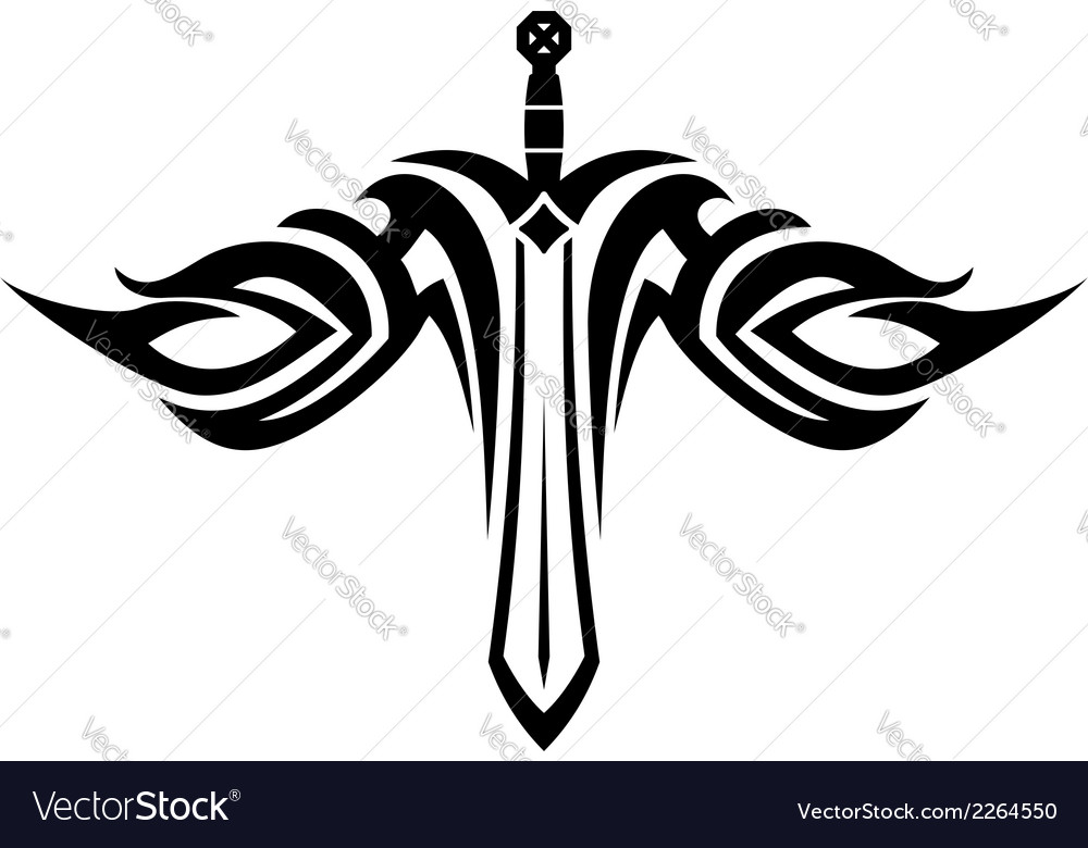 Sword tattoo with flowing wings vector | Price: 1 Credit (USD $1)