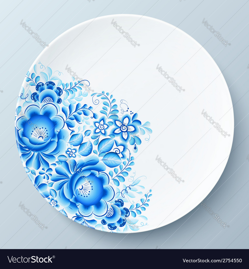 White plate with blue floral ornament vector | Price: 1 Credit (USD $1)