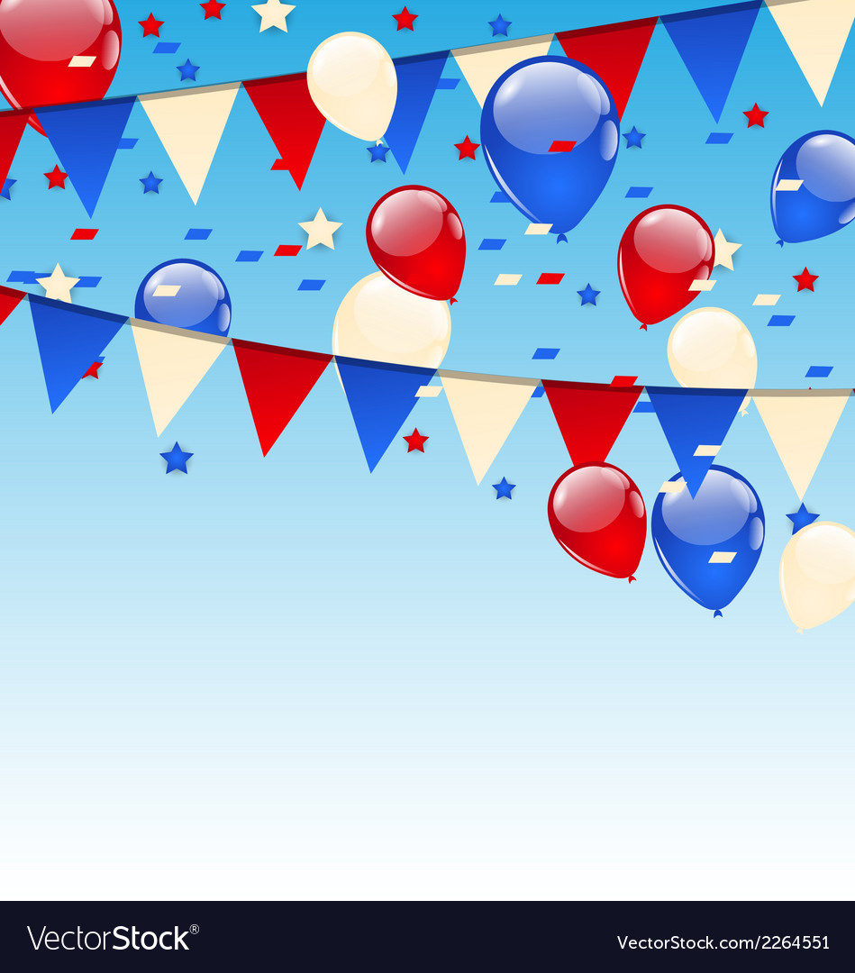 American background with balloons in the blue sky vector | Price: 1 Credit (USD $1)