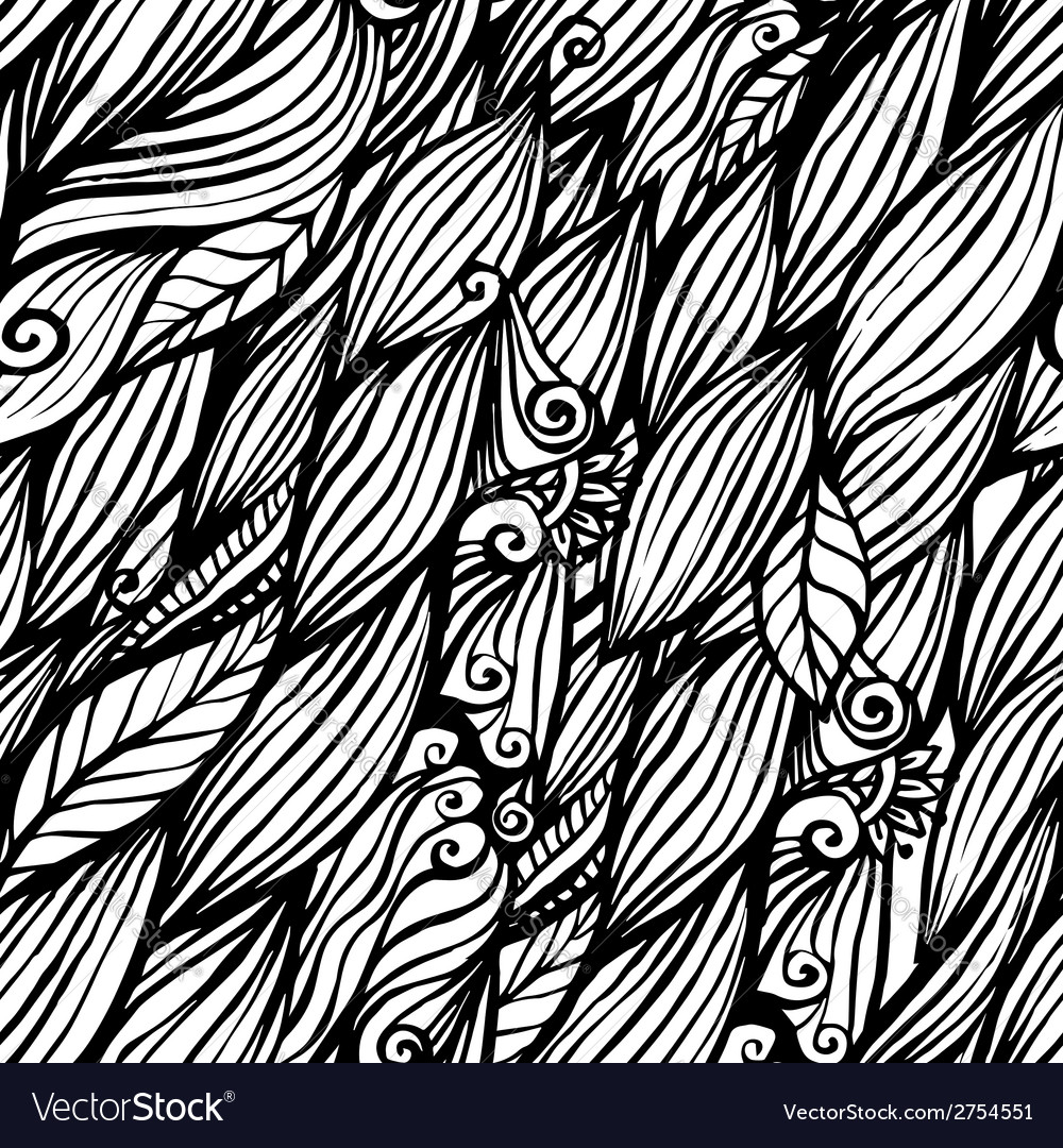 Black and white doodle ink hair waves seamless vector | Price: 1 Credit (USD $1)