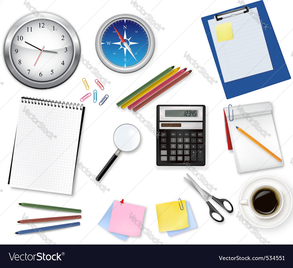 Calculator and office supplies vector | Price: 3 Credit (USD $3)