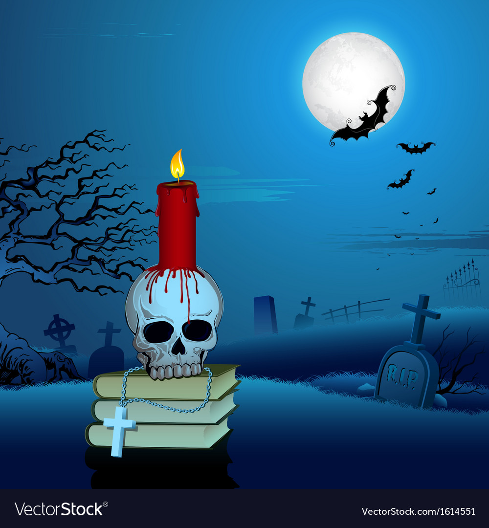 Candle on skull in halloween night vector | Price: 1 Credit (USD $1)