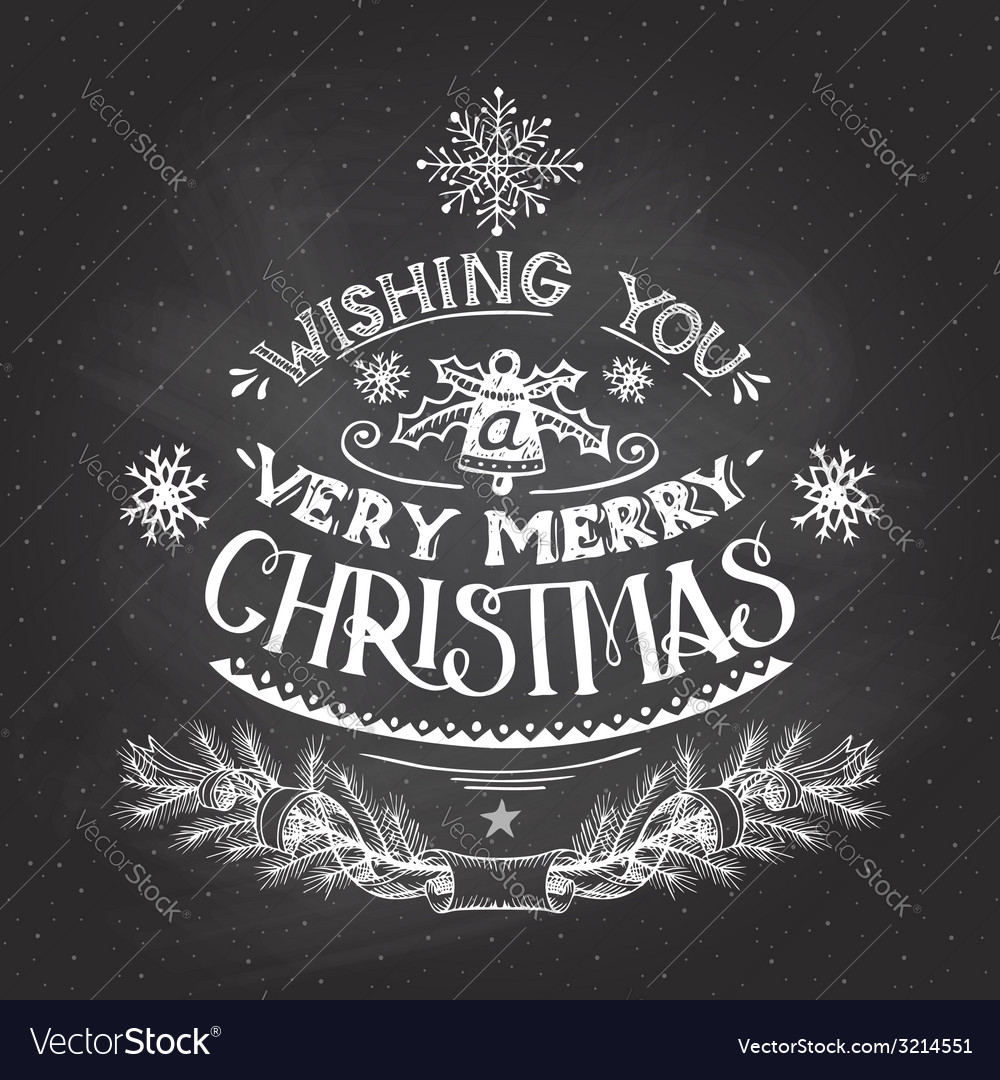 Christmas wishes hand-lettering with chalk vector | Price: 1 Credit (USD $1)