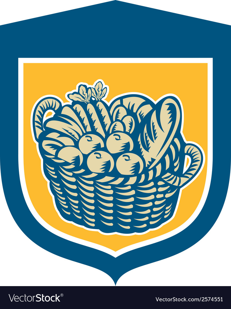 Crop harvest basket shield woodcut vector | Price: 1 Credit (USD $1)
