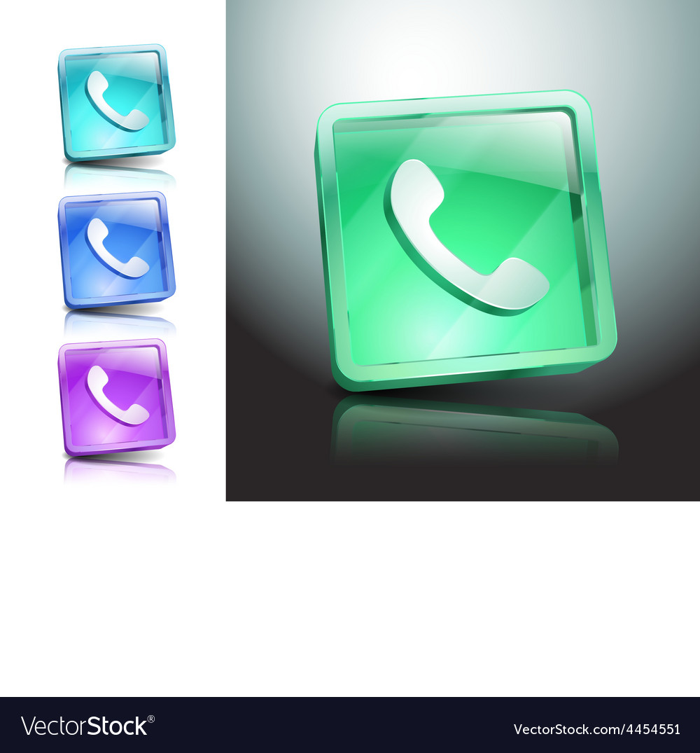 Glass icons green talking telephone phone vector | Price: 1 Credit (USD $1)