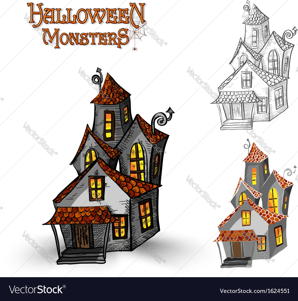 Halloween monsters haunted house eps10 file vector | Price: 1 Credit (USD $1)