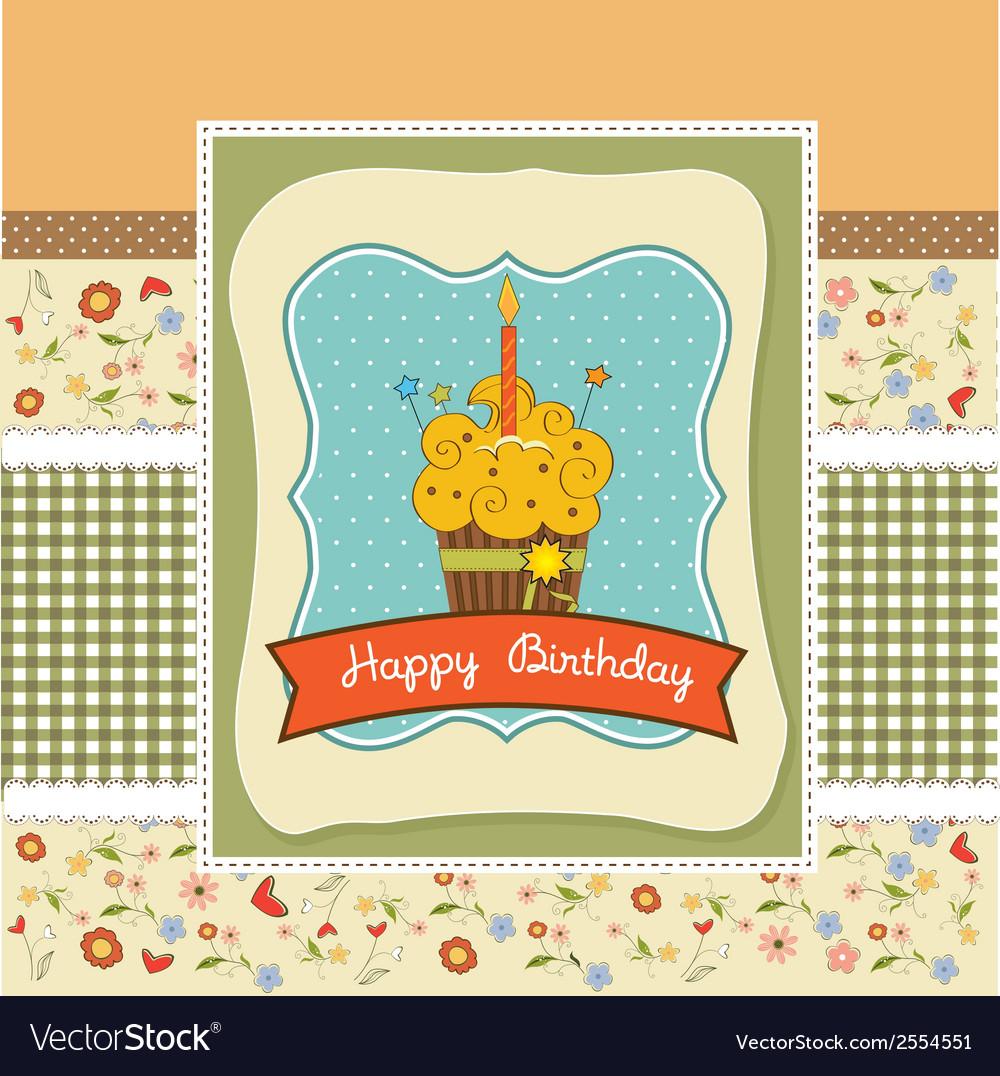 Happy birthday cupcake vector | Price: 1 Credit (USD $1)