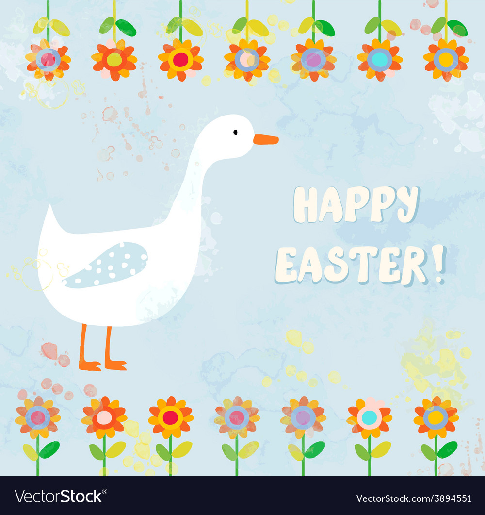 Happy easter card with goose vector | Price: 1 Credit (USD $1)