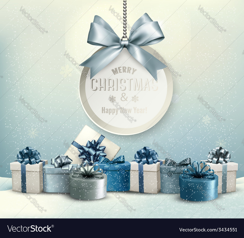 Merry christmas card with a ribbon and gift boxes vector | Price: 5 Credit (USD $5)