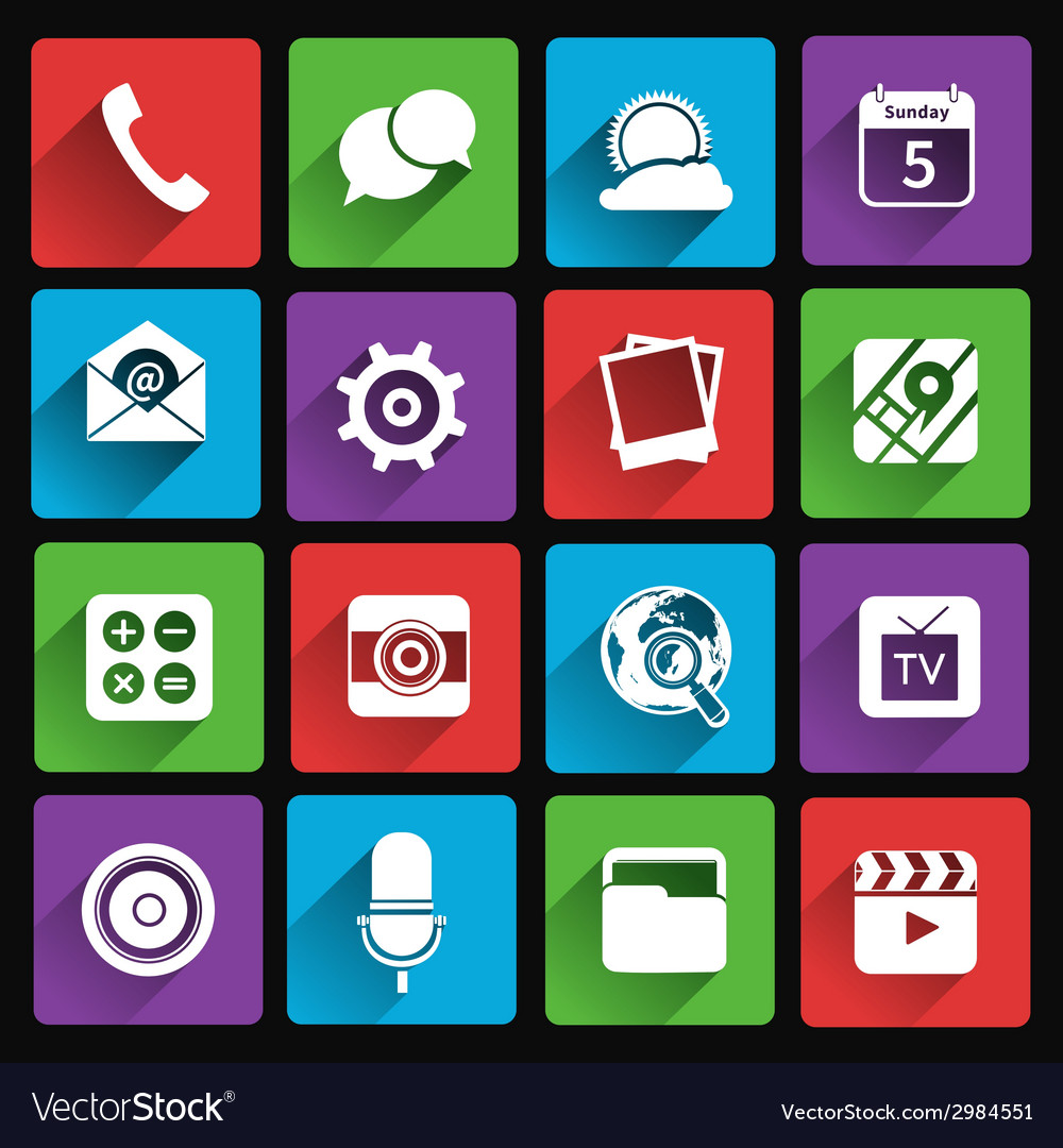 Mobile applications icons flat vector | Price: 1 Credit (USD $1)