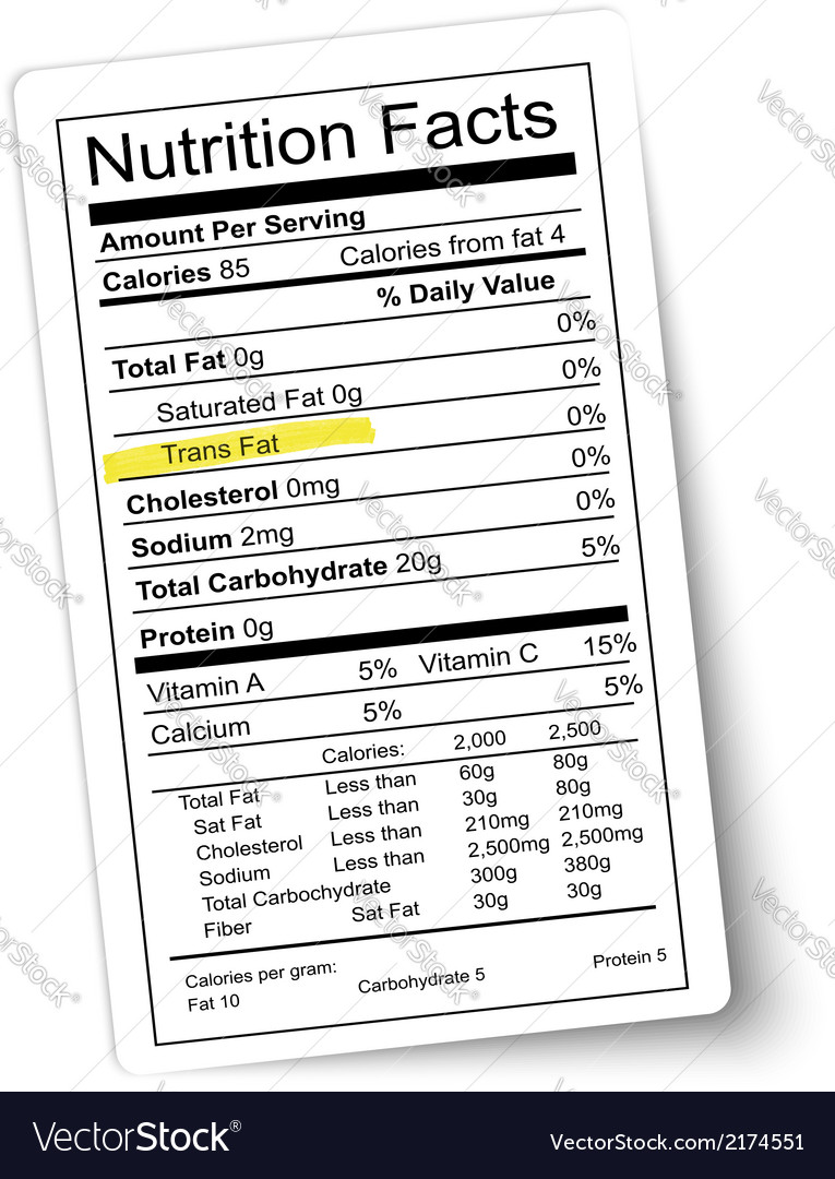 Nutrition facts label fat highlighted vector | Price: 1 Credit (USD $1)