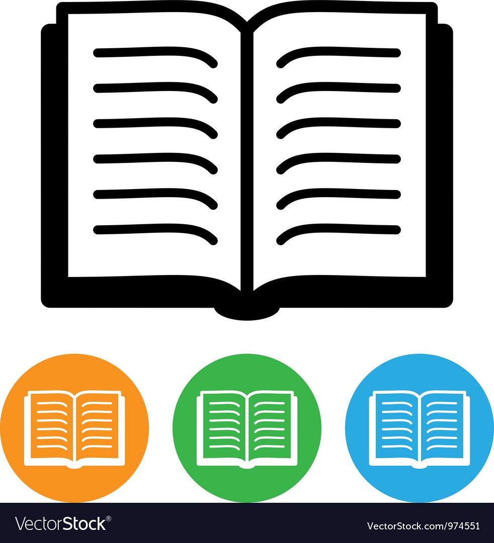 Open book icon vector
