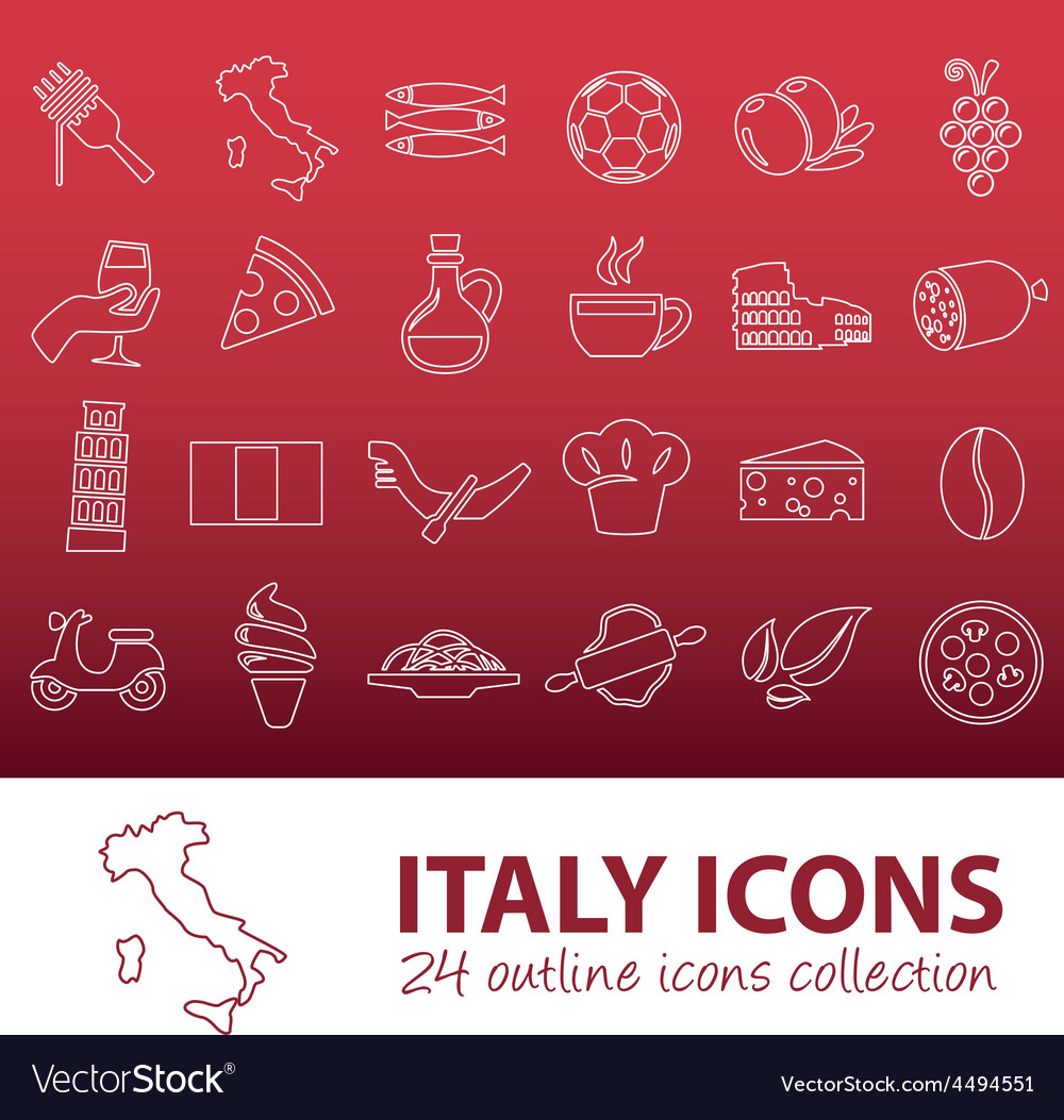 Outline italy icons vector | Price: 1 Credit (USD $1)