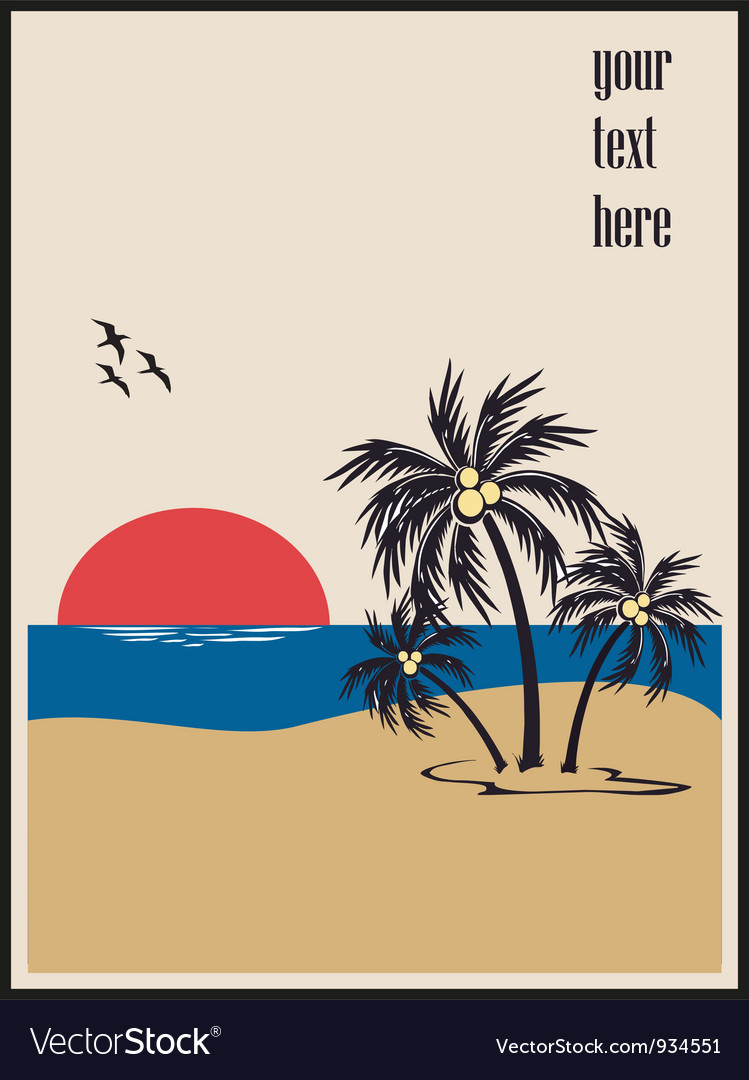 Summer beach poster vector | Price: 1 Credit (USD $1)