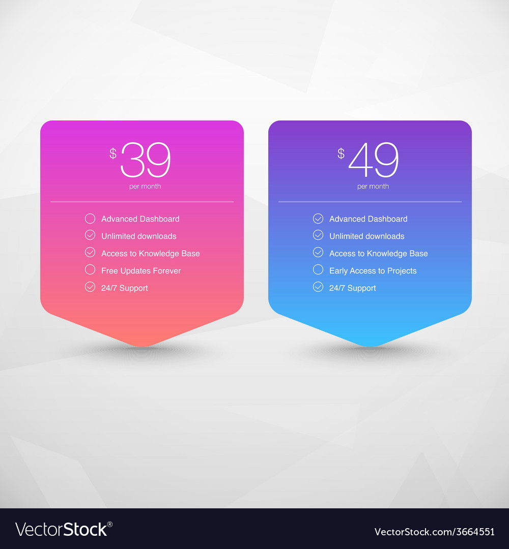 Two pricing tables vector | Price: 1 Credit (USD $1)
