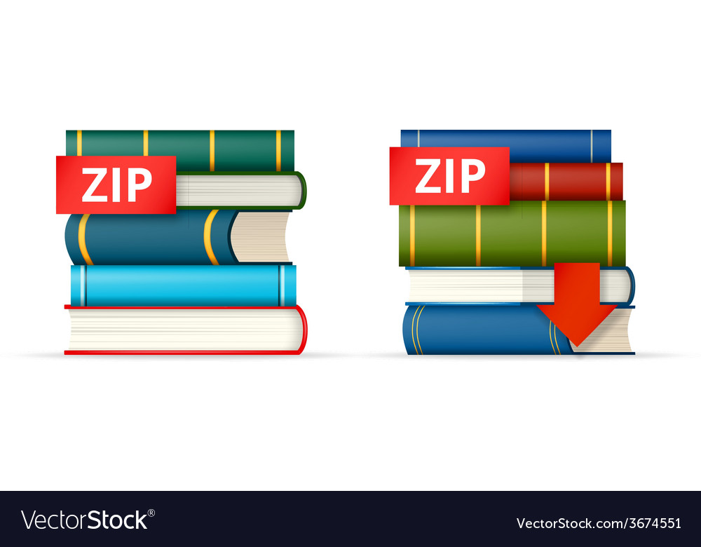 Zip books stacks icons vector | Price: 1 Credit (USD $1)