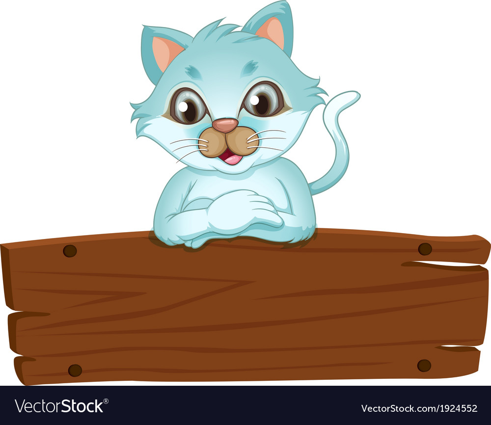 A beautiful cat leaning over the wooden signboard vector | Price: 3 Credit (USD $3)