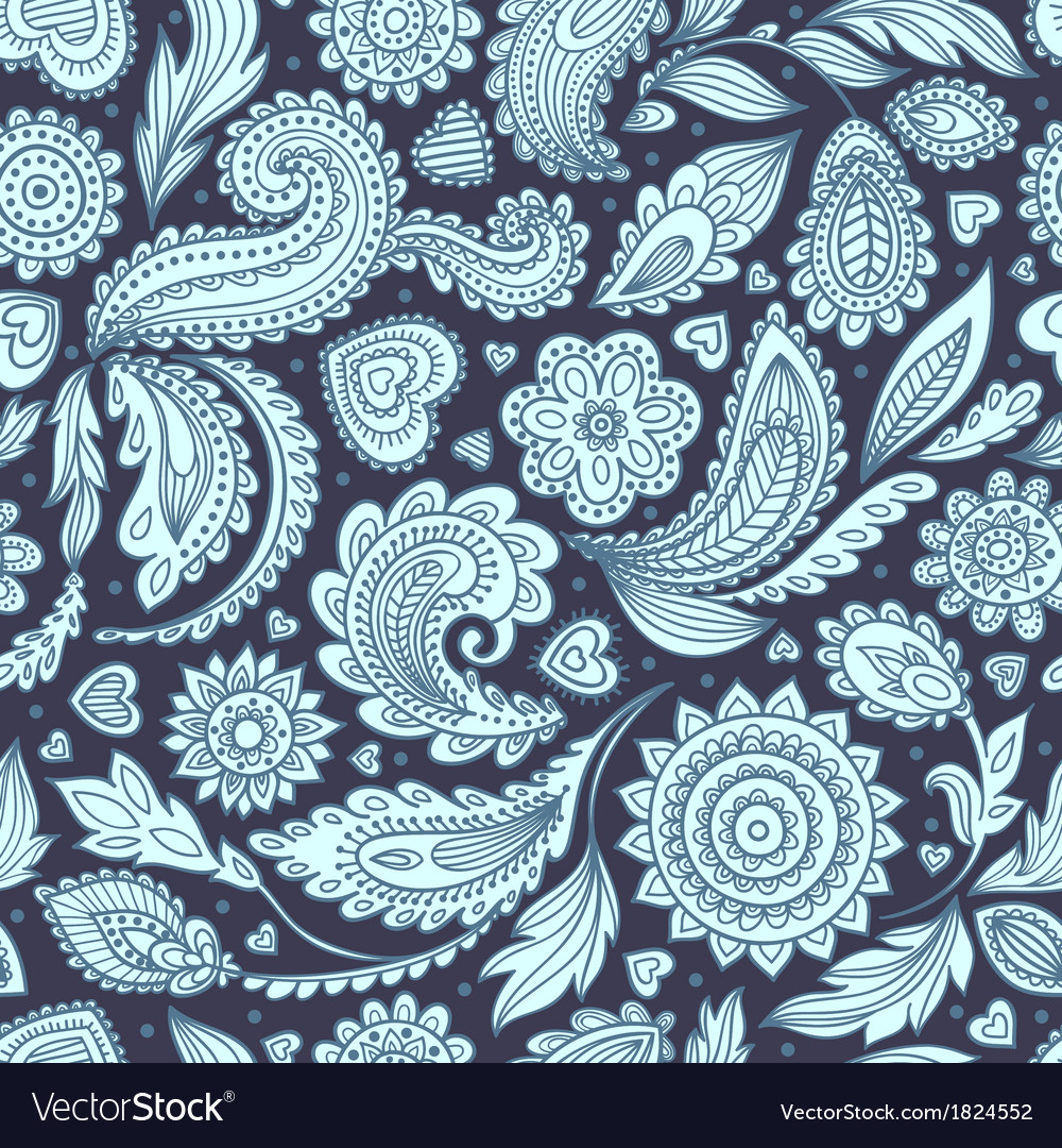 Beautiful floral paisley seamless vector | Price: 1 Credit (USD $1)