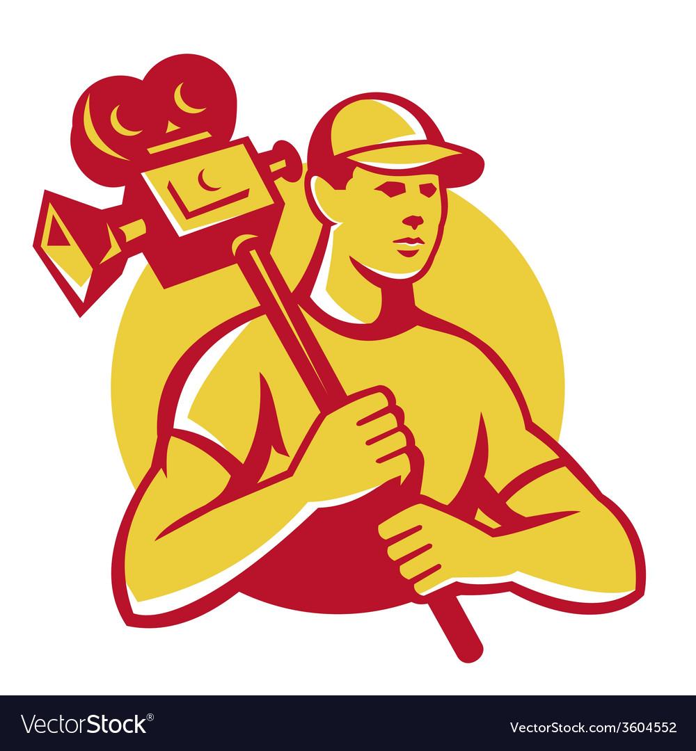 Cameraman movie director carrying vintage camera vector | Price: 1 Credit (USD $1)