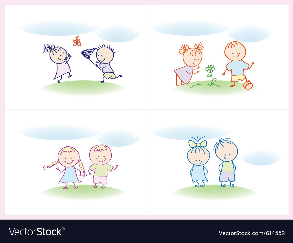 Cheerful and happy kids vector | Price: 1 Credit (USD $1)