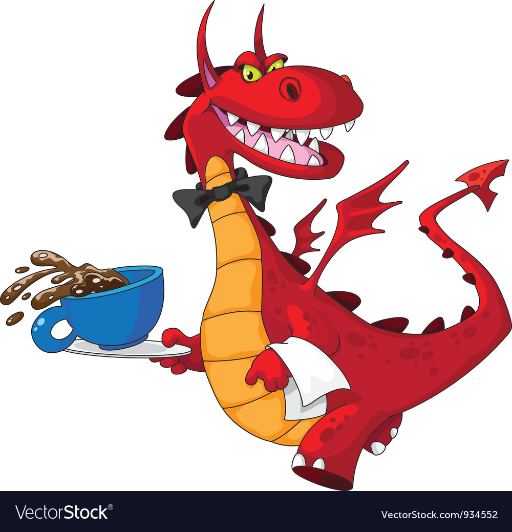 Dragon waiter with cup vector | Price: 3 Credit (USD $3)