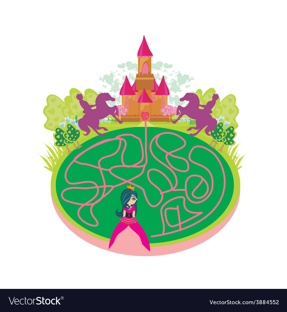 Funny maze game - princess looking for a way to vector | Price: 1 Credit (USD $1)