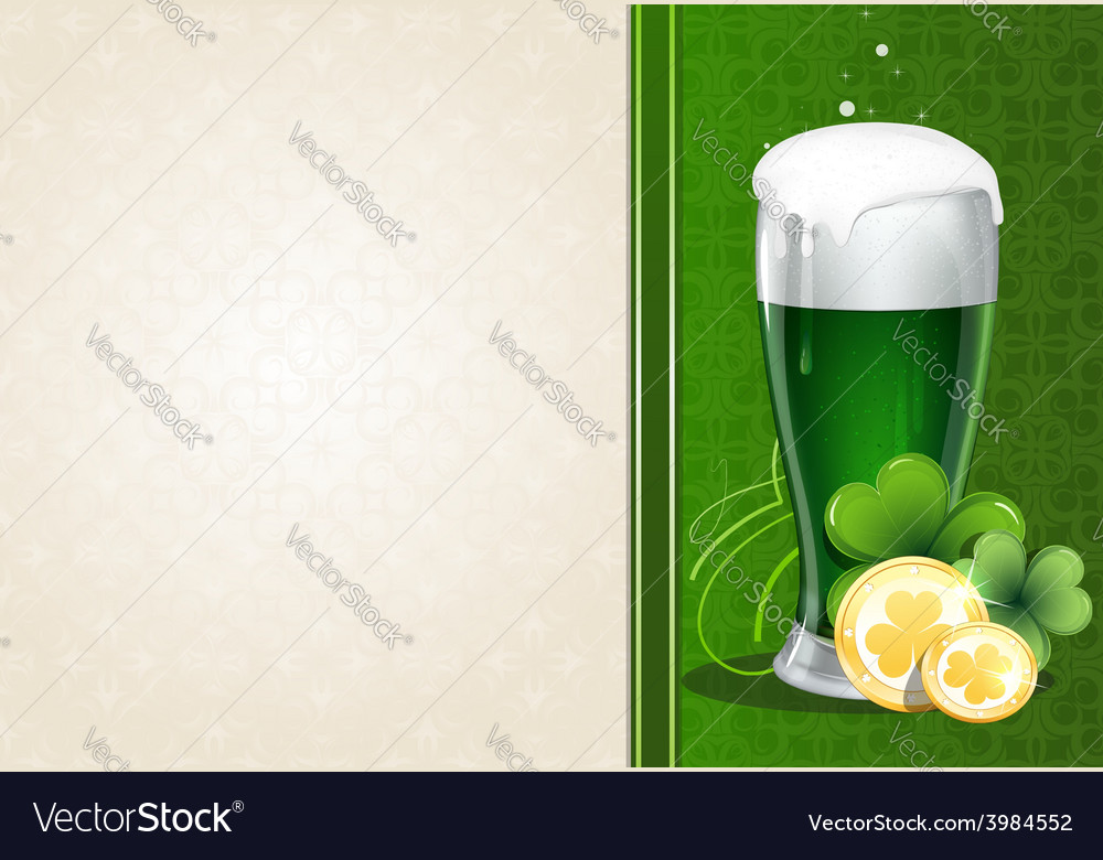 Green beer with gold coins and clover vector | Price: 1 Credit (USD $1)