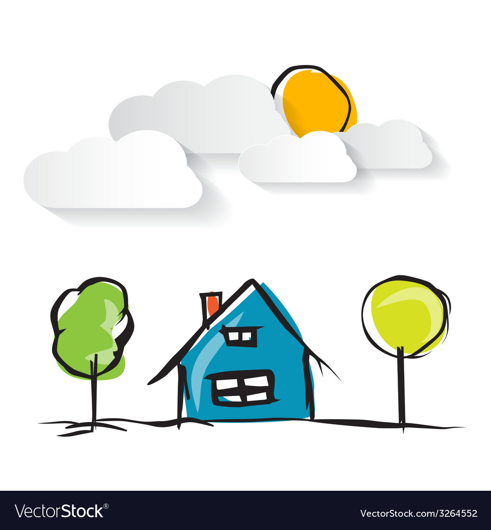 Hand drawn house with paper clouds and trees vector | Price: 1 Credit (USD $1)