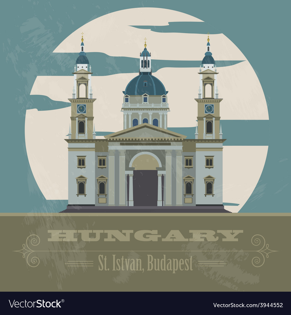 Hungary landmarks retro styled image vector | Price: 1 Credit (USD $1)