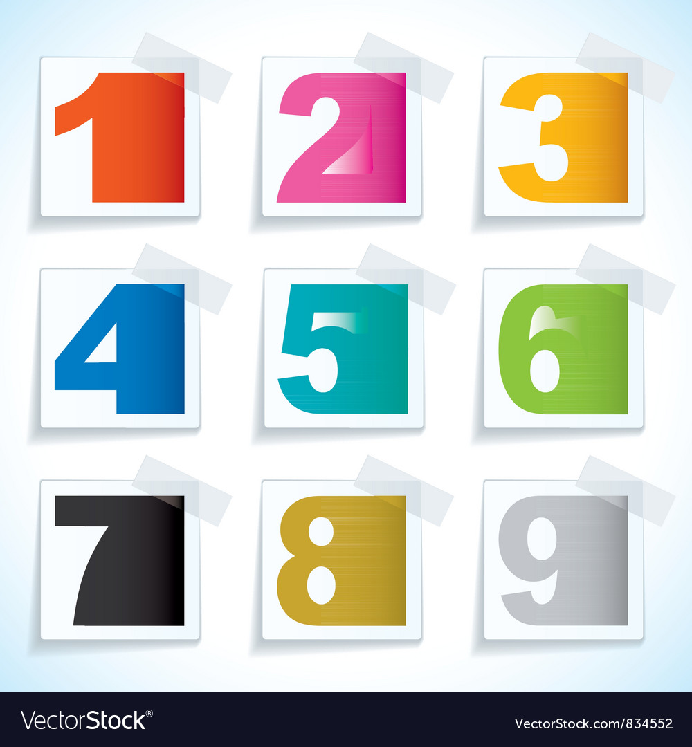 Number paper tags vector | Price: 1 Credit (USD $1)
