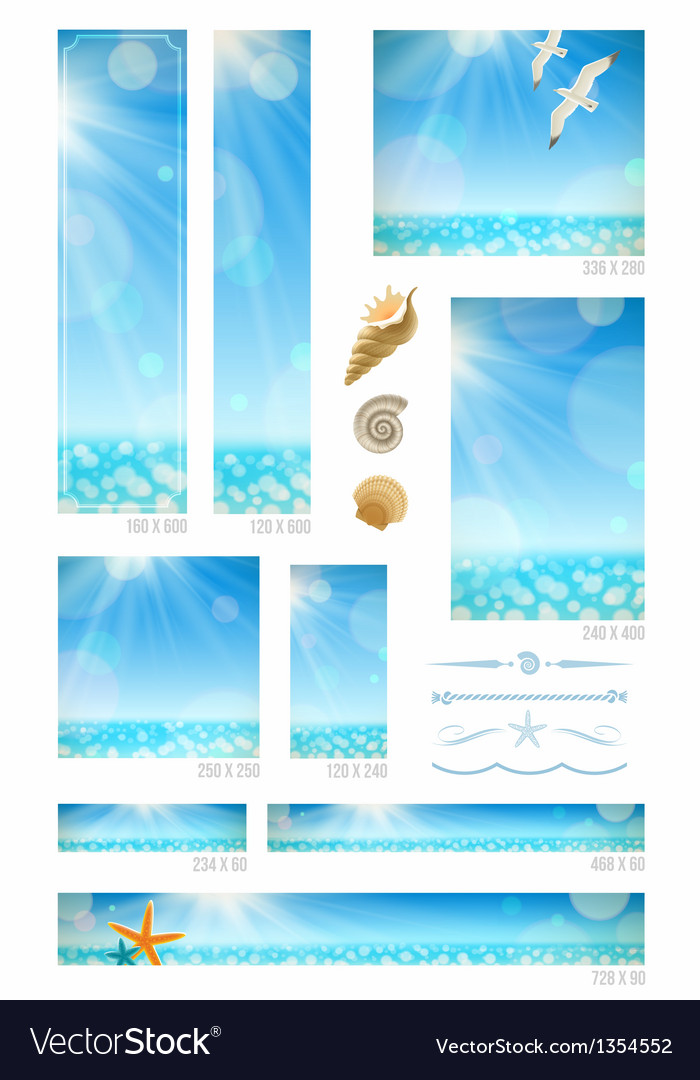 Standard web banners with sunny seascape vector | Price: 3 Credit (USD $3)