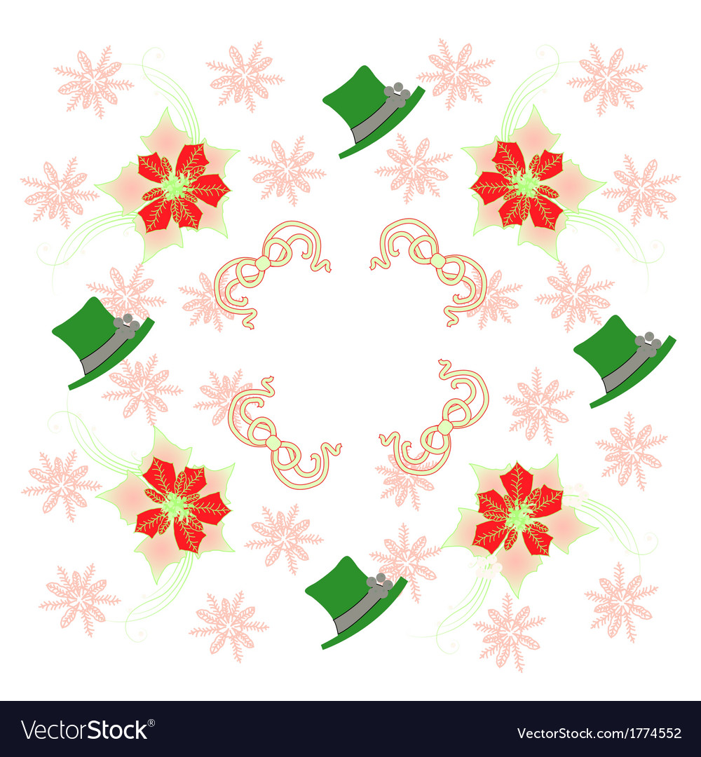 White pattern with poinsettia and snowflakes vector | Price: 1 Credit (USD $1)